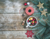 Christmas (New Year) decoration background: a cup full of colorf Royalty Free Stock Photos