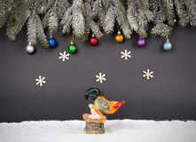 Christmas or New Year decoration background: fur-tree branches, Stock Photography