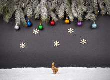 Christmas or New Year decoration background: fur-tree branches, Royalty Free Stock Photo