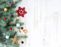 Christmas or New Year decoration background: fur Royalty Free Stock Photography