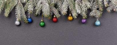 Christmas or New Year decoration background: fur-tree branches, Royalty Free Stock Photography