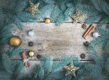 Christmas (New Year) decoration background: fur-tree branches, g Stock Image