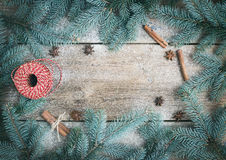 Christmas (New Year) decoration background: fur-tree branches, g Royalty Free Stock Photos