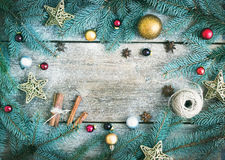 Christmas (New Year) decoration background: fur-tree branches, g Royalty Free Stock Photo