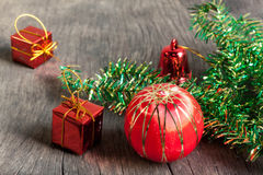 Christmas or new year decoration,ball,bell,gifts box,tree on bro Royalty Free Stock Image