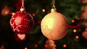 Christmas and new year decoration balls. christmas tree lights bokeh stock footage