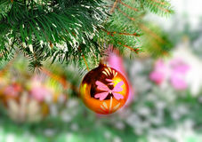 Christmas,New Year decoration-balls, green tinsel Stock Image