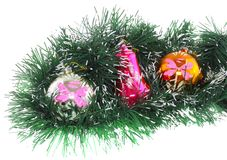Christmas,New Year decoration-balls, green tinsel Royalty Free Stock Photo