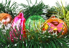 Christmas,New Year decoration-balls, green tinsel Royalty Free Stock Photography