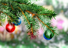 Christmas,New Year decoration-balls, green tinsel Royalty Free Stock Image