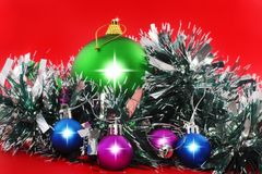 Christmas,  New Year decoration- balls, tinsel. Stock Images