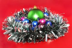 Christmas,  New Year decoration- balls, tinsel. Stock Photography