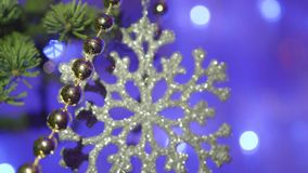 Christmas and New Year Decoration.Blinking Garland. Christmas Tree Lights Twinkling. closeup. Christmas and New Year Decoration.Blinking Garland. Christmas Tree stock video