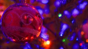Christmas and New Year Decoration.Blinking Garland. Christmas Tree Lights Twinkling. closeup. Christmas and New Year Decoration.Blinking Garland. Christmas Tree stock footage