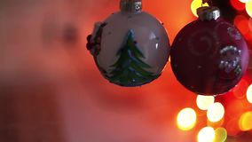 Christmas and New Year Decoration. Blurred Bokeh Holiday Background. Blinking Garland. Christmas Tree Lights Twinkling. Christmas and New Year Decoration stock video footage
