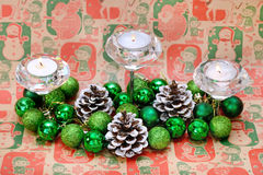 Christmas New Year Decoration Cadnles Green Balls and Cones Stock Images