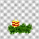 Christmas and New Year decoration with candles and spruce twig isolated on transparent background. Vector illustration Stock Image