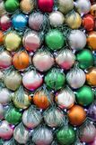 Christmas and New Year decoration colorful balls with garlands. Christmas and New Year decoration colorful  balls with garlands. Winter holiday theme. Background Stock Image