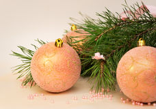 Christmas (New Year) decoration composition, fur-tree branches and pink balls Stock Image