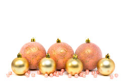 Christmas, New Year decoration composition, pink and gold balls Stock Images