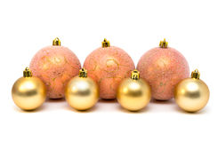 Christmas, New Year decoration composition, pink and gold balls Stock Image