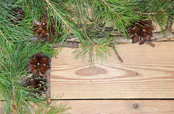 Christmas and New Year decoration composition on wooden backgrou Royalty Free Stock Image