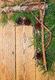 Christmas and New Year decoration composition on wooden backgrou Royalty Free Stock Photo