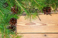 Christmas and New Year decoration composition on wooden backgrou Stock Images
