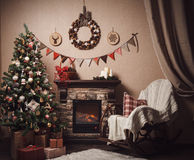 Christmas and new year decoration. Craft style. Royalty Free Stock Photos