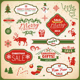 Christmas and new year decoration elements. Collection of christmas and new year decoration elements vector illustration