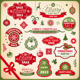 Christmas and new year decoration elements. Collection of christmas and new year decoration elements royalty free illustration