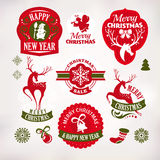 Christmas and New Year decoration elements and labels. Collection of Christmas and New Year decoration elements and labels royalty free illustration
