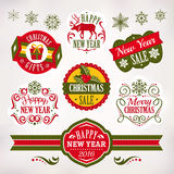 Christmas and New Year decoration elements and labels Stock Photos