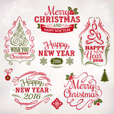 Christmas and New Year decoration elements and labels Stock Photography