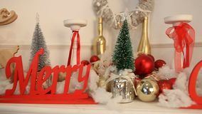 Christmas new year decoration by the fireplace stock video