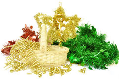 Christmas and new year decoration. The christmas and new year decoration, focused on star tinsel Stock Photography