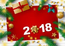Christmas and new year 2018 decoration of gift box pine leaves. And light bulb with copy space Royalty Free Stock Images