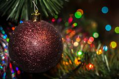 Christmas and New Year decoration glittered ball Royalty Free Stock Image