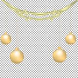 Christmas and New Year decoration with golden bows, ribbon and Christmas balls isolated on transparent background. Vector illustration Royalty Free Stock Photos
