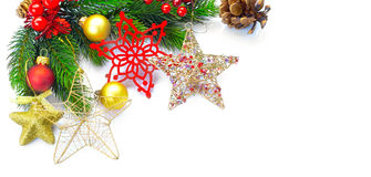 Christmas and New Year decoration isolated on white background Stock Photos