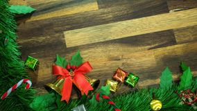 Christmas and new year decoration items with small elements. flat lay decorationon the wooden background. Top view.  royalty free stock photography