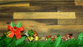 Christmas and new year decoration items with small elements. flat lay decorationon the wooden background. Top view.  stock photography