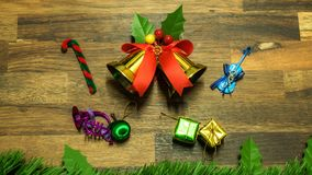 Christmas and new year decoration items with small elements. flat lay decorationon the wooden background. Top view.  stock images
