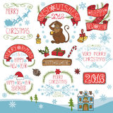 Christmas,New Year 2016 decoration,labels kit. Christmas season decorations.New year 2016 Label, ribbons,fir branches,lettering and snowflakes,monkey,doodle Stock Photo