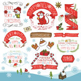 Christmas,New Year 2016 decoration,labels set. Christmas season decorations.New year 2016 Label, ribbons,fir branches and lettering,snowflakes,funny monkey Royalty Free Stock Images