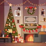 Christmas And New Year Decoration Of Living Room Pine Tree , Fireplace And Garlands Holidays Home Interior. Flat Vector Illustration Stock Image