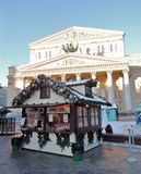 Christmas and New Year decoration in Moscow city center. Christmas and New Year decoration in Moscow city center, on Theater Square. Christmas fair. Blue sky Royalty Free Stock Image