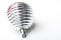 Christmas New Year decoration ornament silver ball. Christmas New Year decoration ornament silver shiny ball Royalty Free Stock Photography