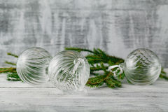 Christmas and New Year Decoration over white wood background. B Royalty Free Stock Photo
