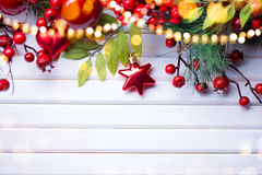 Christmas and New Year decoration over white wood background Royalty Free Stock Photography